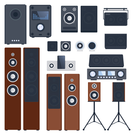 sound system: Home sound system. Home stereo flat vector music systems for music lovers. Loudspeakers player receiver subwoofer remote music systems for listening to music. Loudspeakers stereo equipment technology.
