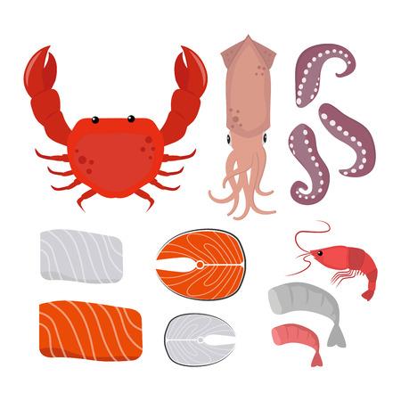 fried shrimp: Seafood set design flat fish and crab. Seafood fish, seafood platter, lobster and crab, food oyster, fresh seafood, shrimp and menu sea food, octopus animal, shellfish. Fresh sea food collage