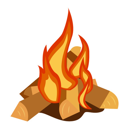 bonfires: Isolated illustration of campfires logs burning bonfire. Bonfires on white background. Vector bonfire isolated and wood explosion glowing bonfire isolated. Red nature burning blazing power vector.