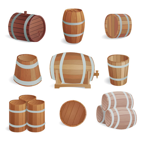 ferment: Row of wooden barrels of tawny portwine in cellar. Vintage old style wooden barrels oak storage container. Wooden barrels keg vintage beer cask drink rustic ferment store tradition container vector. Illustration
