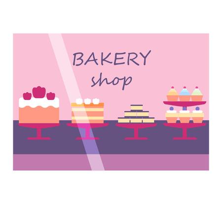 shop window: Bakery shop window facade illustration vector on white Illustration