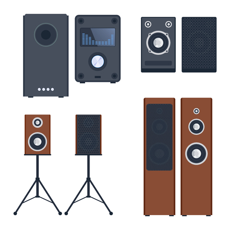 cd recorder: Home sound system. Home stereo flat vector music systems for music lovers. Loudspeakers player receiver subwoofer remote music systems for listening to music. Loudspeakers stereo equipment technology.