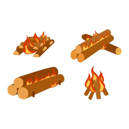 bonfires: Isolated illustration of campfires logs burning bonfires. Bonfires on white background. Vector bonfire isolated and wood explosion glowing bonfire isolated. Red nature burning blazing power vector. Illustration