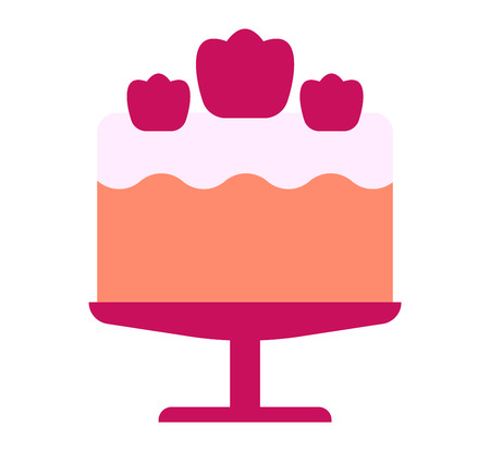 cream pie: Pie isolated cake vector. Wedding or birthday cake sweet dessert homemade pie. Cream brownie cake topped pie isolated on white