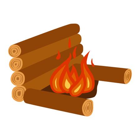 Isolated illustration of campfires logs burning bonfire. Bonfires on white background. Vector bonfire isolated and wood explosion glowing bonfire isolated. Red nature burning blazing power vector.