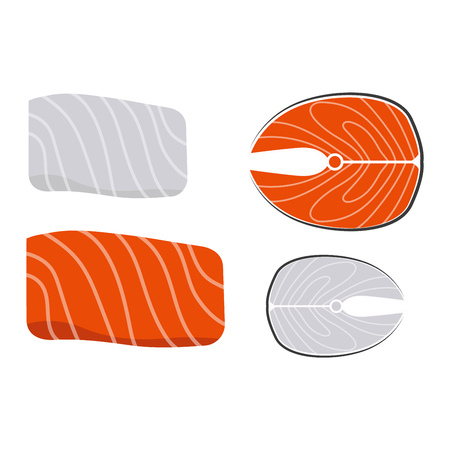 ready to cut: Piece salmon fish slice isolated on white background and freshness cut delicious diet eat fish slice vector. Steak cuisine cooking fresh meat fish slice and fish slice dinner salmon meat ingredient.