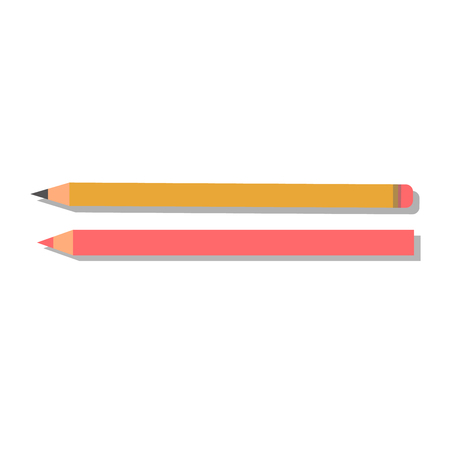 ball pens stationery: Vector yellow pencil illustration office supply design. Colored plastic pencil and ballpoint green pencil. Color pencil education equipment and design school.