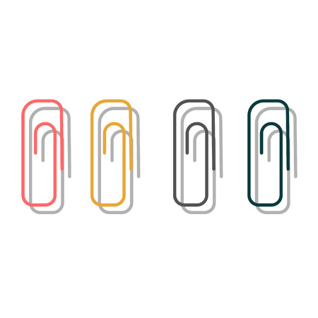 office supply: Paper clip office supply vector holder. Paperclip business Document tool holder, stationery paperclip. Paperclip colorful office attachment vector Illustration