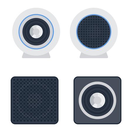 loud speaker: Musical columns speaker bass equipment isolated on white background. Vector column speaker loudspeaker loud volume modern musical system. Disco electronics professional technology column speaker.