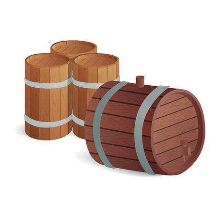 ferment: Wooden barrel vintage old style wooden barrels oak storage container. Illustration