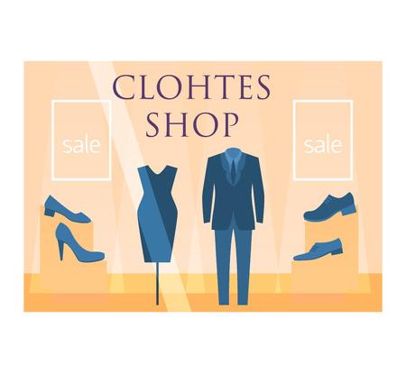 shop window: Clothes shop window facade illustration vector isolated