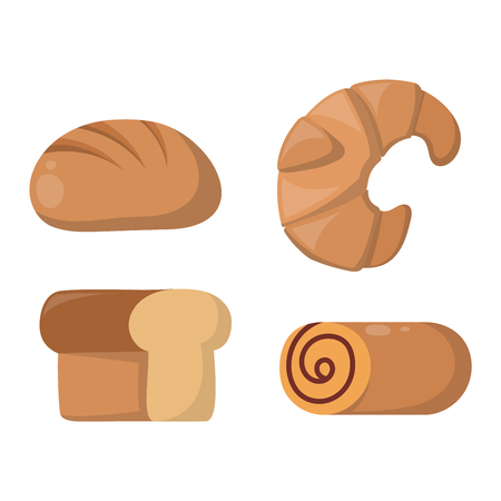 gourmet meal: Vector illustration of bakery product food collection. Breakfast wheat meal chocolate dessert bakery products. Fresh grain product bun roll bakery products grocery health diet snack gourmet cereal. Illustration