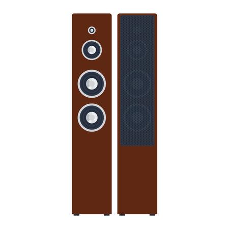 Musical columns speaker bass equipment isolated on white background. Vector column speaker loudspeaker loud volume modern musical system. Disco electronics professional technology column speaker.