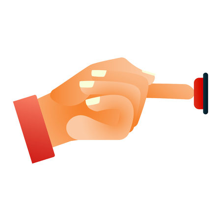 hand press: Hand press button finger press icon on white background. Finger control start up hands push button pointer cursor. Target gesture internet human hand push button touch concept one click.