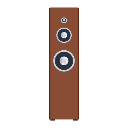 hi fi system: Musical columns speaker bass equipment isolated on white background. Vector column speaker loudspeaker loud volume modern musical system. Disco electronics professional technology column speaker.