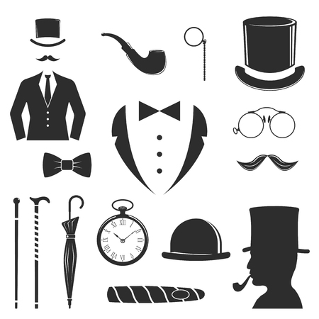 mister: Hipster vector design set fashion hipster label. Retro people old mustache vintage style beard gent icons. Barber gent icons trend funny mister gentleman party black vector silhouette.