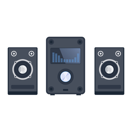 woofer: Home sound system. Home stereo flat vector music systems for music lovers. Loudspeakers player receiver subwoofer remote music systems for listening to music. Loudspeakers stereo equipment technology.