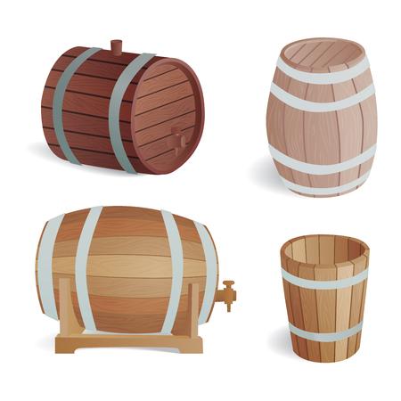 wooden barrel: Wooden barrel vintage old style wooden barrels oak storage container. Illustration