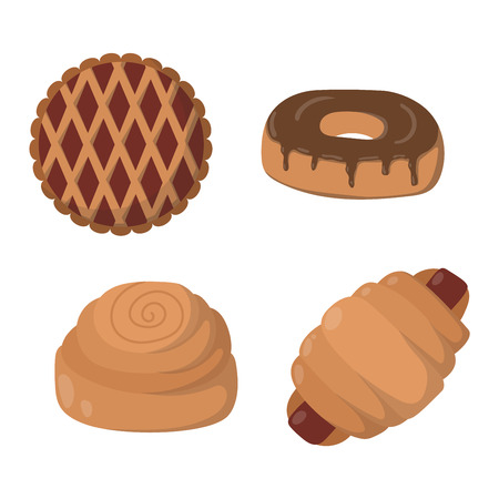 grain and cereal products: Vector illustration of bakery product food collection. Breakfast wheat meal chocolate dessert bakery products. Fresh grain product bun roll bakery products grocery health diet snack gourmet cereal. Illustration