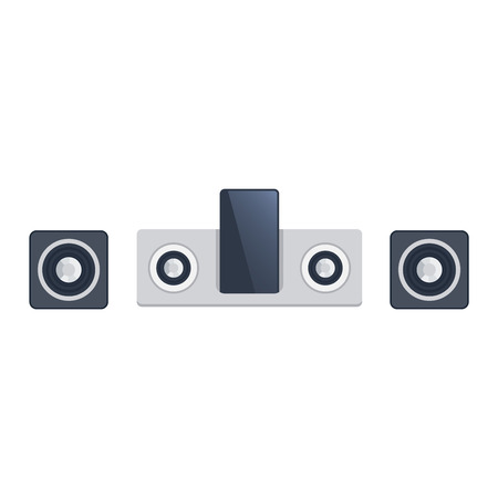 surround system: Home sound system. Home stereo flat vector music systems for music lovers. Loudspeakers player receiver subwoofer remote music systems for listening to music. Loudspeakers stereo equipment technology.