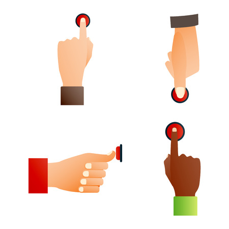 hand press: Hand press red button finger press icon on white background. Finger control start up hands push red buttons pointer cursor. Target gesture internet human hands push buttons touch concept one click. Illustration