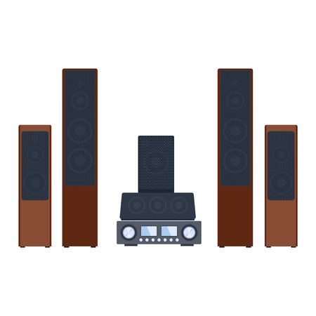 acoustic systems: Home sound system. Home stereo flat vector music systems for music lovers. Loudspeakers player receiver subwoofer remote music systems for listening to music. Loudspeakers stereo equipment technology.