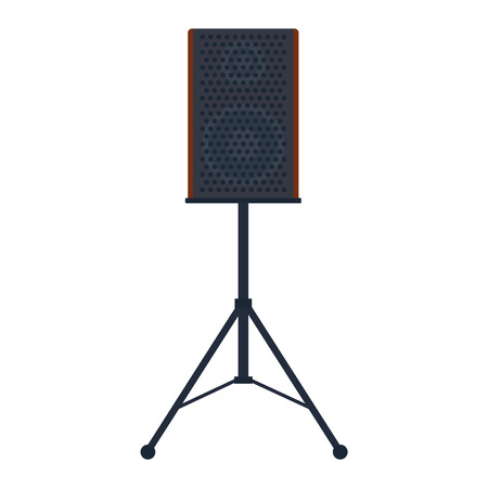 sub woofer: Musical columns speaker bass equipment isolated on white background. Vector column speaker loudspeaker loud volume modern musical system. Disco electronics professional technology column speaker.