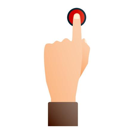 손으로 눌러 단추 손가락 흰색 배경에 아이콘을 누릅니다. 손가락 컨트롤 손을 밀어 버튼 포인터 커서를 시작합니다. 대상 제스처, 인터넷, 인간, 손,
