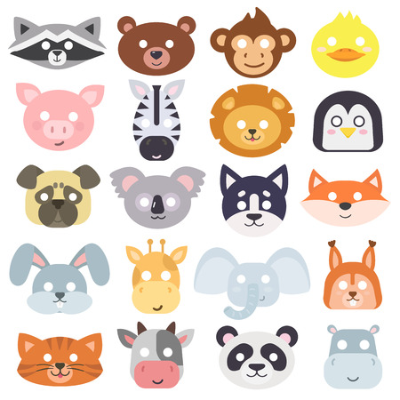 Animals carnival mask vector set festival decoration masquerade. Party costume cute cartoon animals carnival mask. Festival head decoration isolated celebration animals carnival mask.  イラスト・ベクター素材