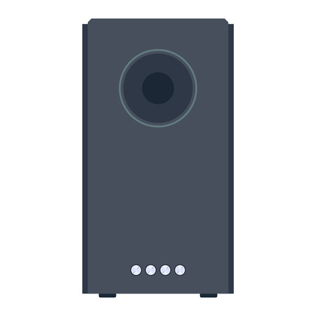 home equipment: Home sound system. Home stereo flat vector music systems for music lovers. Loudspeakers player receiver subwoofer remote music systems for listening to music. Loudspeakers stereo equipment technology.