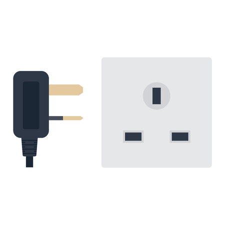 socket outlet: Electric outlet illustration on white background. Energy socket electrical outlet plug appliance interior icon. Wire cable cord connection electrical outlet plug