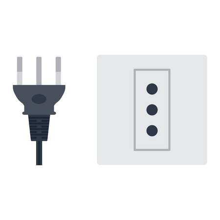 wattage: Electric outlet illustration on white background. Energy socket electrical outlet plug appliance interior icon. Wire cable cord connection electrical outlet plug