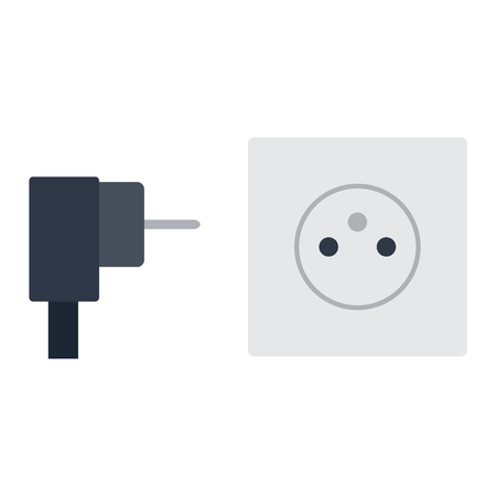 grounded plug: Electric outlet illustration on white background. Energy socket electrical outlet plug appliance interior icon. Wire cable cord connection electrical outlet plug