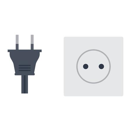 Électrique illustration de sortie sur fond blanc. Prise d'énergie prise électrique enfichable appareil icône intérieur. branchement du cordon de câble Fil fiche de prise de courant