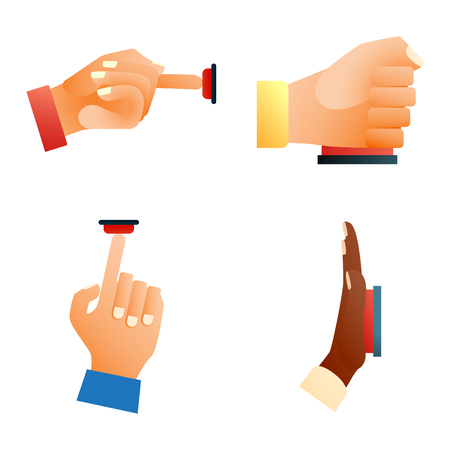 Hand press red button finger press icon on white background. Finger control start up hands push red buttons pointer cursor. Target gesture internet human hands push buttons touch concept one click. Illustration