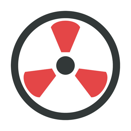 Radiation icon danger button and attention warning sign. Attention security alarm symbol. Danger warning attention sign with symbol information and notification icon vector