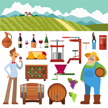 winemaking: Wine making vintage harvest cellar vineyard glass beverage industry. Wine production how wine is made elements infographic. Process natural product machine wine production barrel factory food vector.