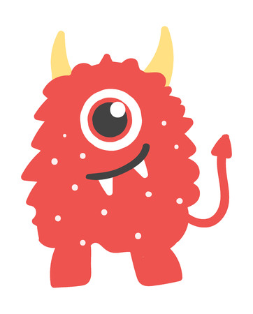 Cute monster color character funny design element. Humour emoticon fantasy monster unique expression sticker isolated. Alien sticker vector fantasy monster paint crazy animals.