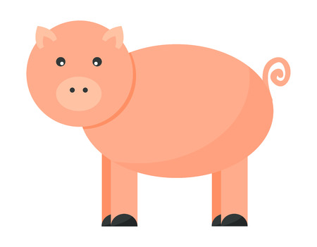 pigsty: Cute cheerful pig funny farm character vector. Domestic isolated mammal, agriculture cute pink pig and piggy snout, small icon funny young cartoon animal. Rural silhouette farm animal cartoon cute pig