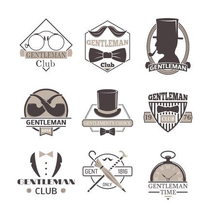 gent: Vintage hipster label gentlemen hipster icon. Vector illustration gentlemen hipster logo badge silhouette. Gentlemens hipster icon badge fashion old vintage symbol logo item.