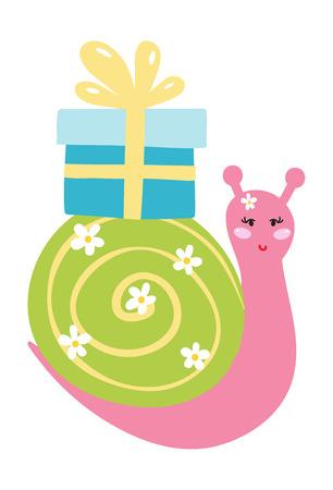 Snail spiral shel cute little snail. Funny gastropod snail cartoon wildlife garden slimy snail. Cute cartoon snail slow shell garden spiral wildlife mollusk vector holding gift box