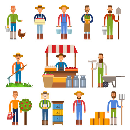 cultivated: Farmers and gardeners flat agriculture icons set isolated vector. Organic person man farmers agriculture, food cultivated. Country agricultural countryside farmers rural healthy field male.