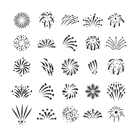 shape vector: Festive firework bursting shape firework pictograms isolated. Firework abstract vector isolated illustration and party fun firework celebration holiday vector sign. Firework show isolated
