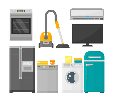 freezer: Group of home appliances isolated on white background. Kitchen equipment refrigerator home appliance. Domestic oven washing microwave electric home appliance cooking freezer tool.