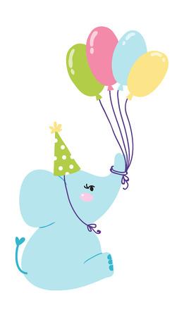 sign  childhood: Baby elephant birthday with balloon. Congratulation announcement baby elephant birthday shower party sign. Childhood art arrival graphic baby elephant birthday greeting symbol.