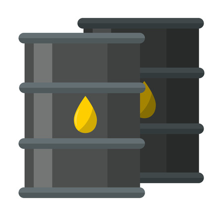 steel industry: Oil reservoir or oil tank energy steel tower, oil tank technology station vector. Big industrial oil tanks in a refinery fuel industry container flat vector illustration. Gas oil tank Illustration