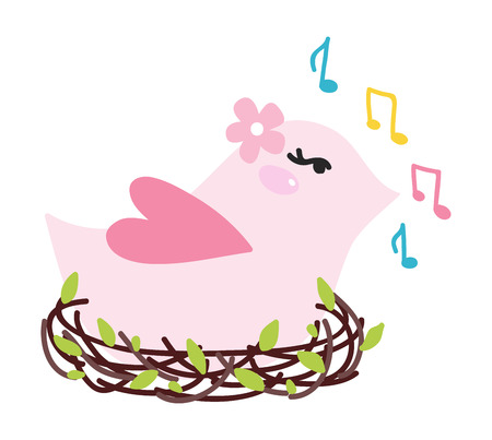 birdsong: Vector illustration of cute bird singing. Cute wildlife bird singing in nest vector animal. Animal branch spring illustration birdsong talking cheerful bird singing character painting.