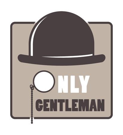 sir: Vintage hipster label gentlemen hipster icon. Vector illustration gentlemen hipster Illustration