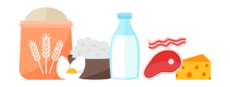 provision: Common everyday food products. Cartoon icons set everyday products provision, milk and fruits, coconut milk. Everyday products vector illustration organic natural healthy breakfast food.