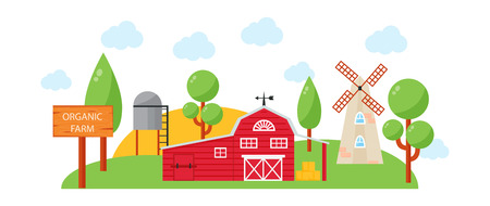 farm house: Farm House concept colored template with farm landscape. Village farm house retro style natural and organic products. Vector illustration farm house vintage countryside barn harvest design.